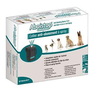 Doos met Aboistop diervreindelijke anti-blafband bestaande uit halsband met kastje en navulling en batterij