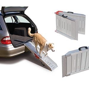 Auto met een aluminium hondenloopplank uit de achterbak waarop een hond loopt