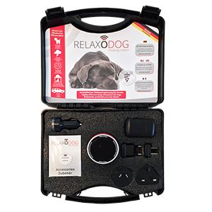 Koffer met geluidsmodule relaxodog met verschillende stekkers, oplaadkabel , verstelbare band
