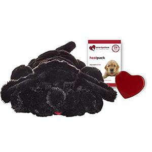 Snuggle puppy zwart pluche hond met warmtezakje en kloppend hartje