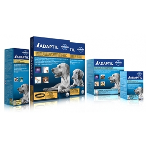 Diverse Adaptil producten zoals verdamper, navulling, halsbanden en tabletten