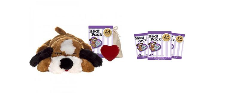 Bruin witte pluchen hond genaamd snuggle puppy met kloppend hart en heatpac