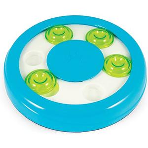Hondenpuzzel denkspel Circle voor de hond of de kat, blauw met wit en groene verschuifbare vakjes, kunststof