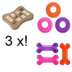 Speelgoedpakket B met hondenpuzzel Slip, hondenfrisbee en treatbone voor de hond