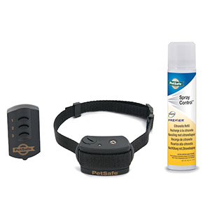 Trainingsband met spray van Petsafe met zwarte halsband van nylon en afstandsbediening en bus spray