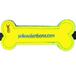 Yellow Alert Bone voor aan de hondenriem in geel leder of geel Canvas in de vorm van een bot