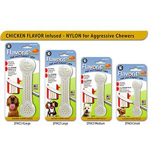 Flavorit nylon kauwbot kipsmaak in 4 maten, wit met gaatjes