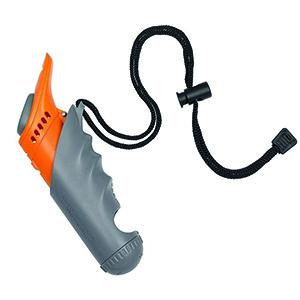 sounttrainer 3 in één apparaat met een clicker, hondenfluitje en hondensnack houder in één, zwart met oranje