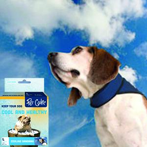 Verkoelende bandana blauw van Pet Cooler met klittebandsluiting