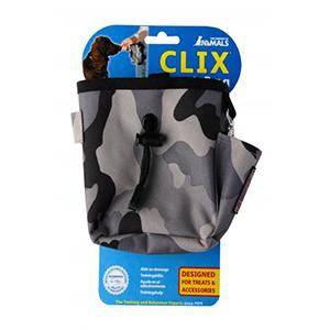 beloningszakje van nylon met combatkleuren en clickervakje en vakje voor hondenfluitje en vakje voor persoonlijke spullen