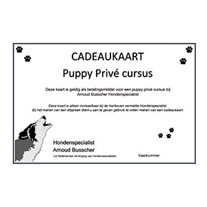 cadeaukaart puppy prive cursus bij Hondenspecialist Arnoud Busscher