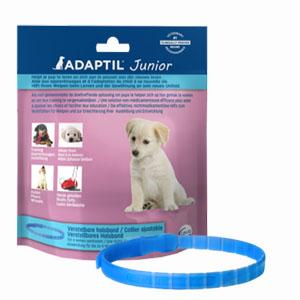 Zakje met daarin een blauwe band Adaptil junior voor stress bij pups