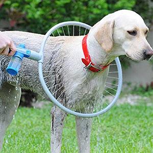 hond die op het gras staat en gewassen wordt met een speciale ring, de hondendouche