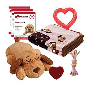 Puppy Welkomstpakket Girl met een Snuggle Puppy (biscuitkleur), 3 Heatpacks, Puppy kauwspeeltje, Speeltouw roze en zachte deken roze