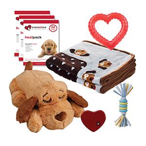Puppy Welkomstpakket Boy inhoud van Snuggle Puppy, Heatpacks, kauwspeeltje, zachte deken