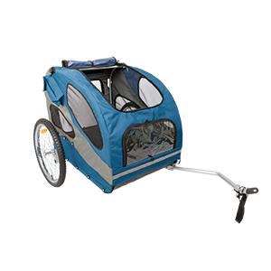 fietskar blauw met grijs voor hond